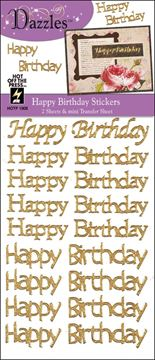 Picture of Dazzles Stickers 2/Pkg-Gold Happy Birthday Greetings
