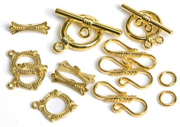 Picture of Jewelry Basics Metal Findings 8 Sets/Pkg-Gold Closure Pack